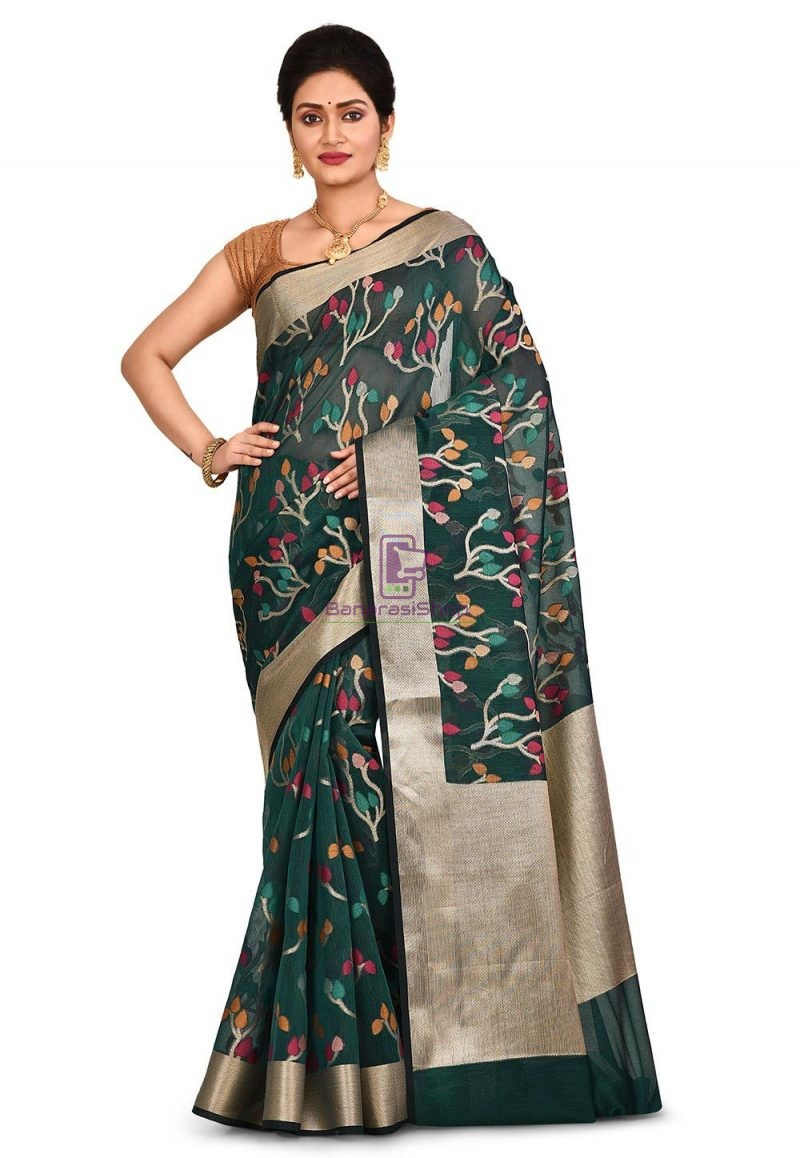 Woven Banarasi Cotton Silk Saree in Dark Teal Blue 1