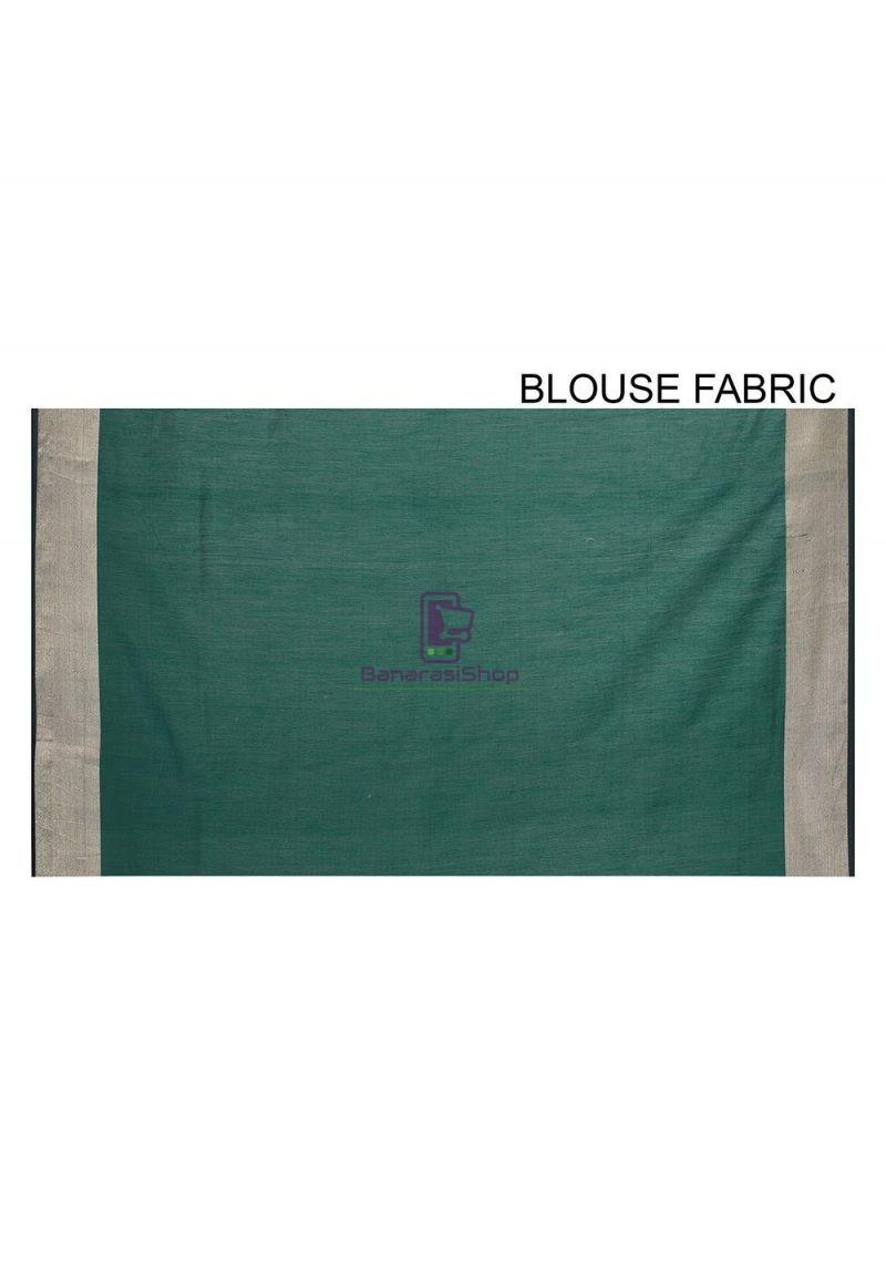 Woven Banarasi Cotton Silk Saree in Dark Teal Blue 3
