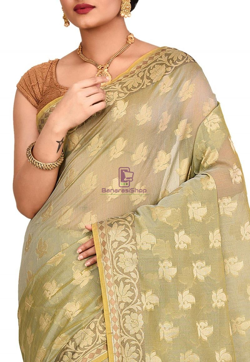 Woven Banarasi Cotton Silk Saree in Grey and Mustard Dual Tone 2