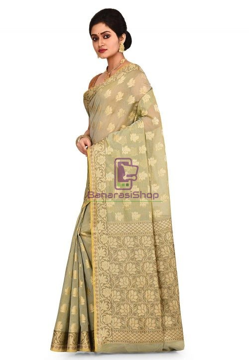 Woven Banarasi Cotton Silk Saree in Grey and Mustard Dual Tone 7
