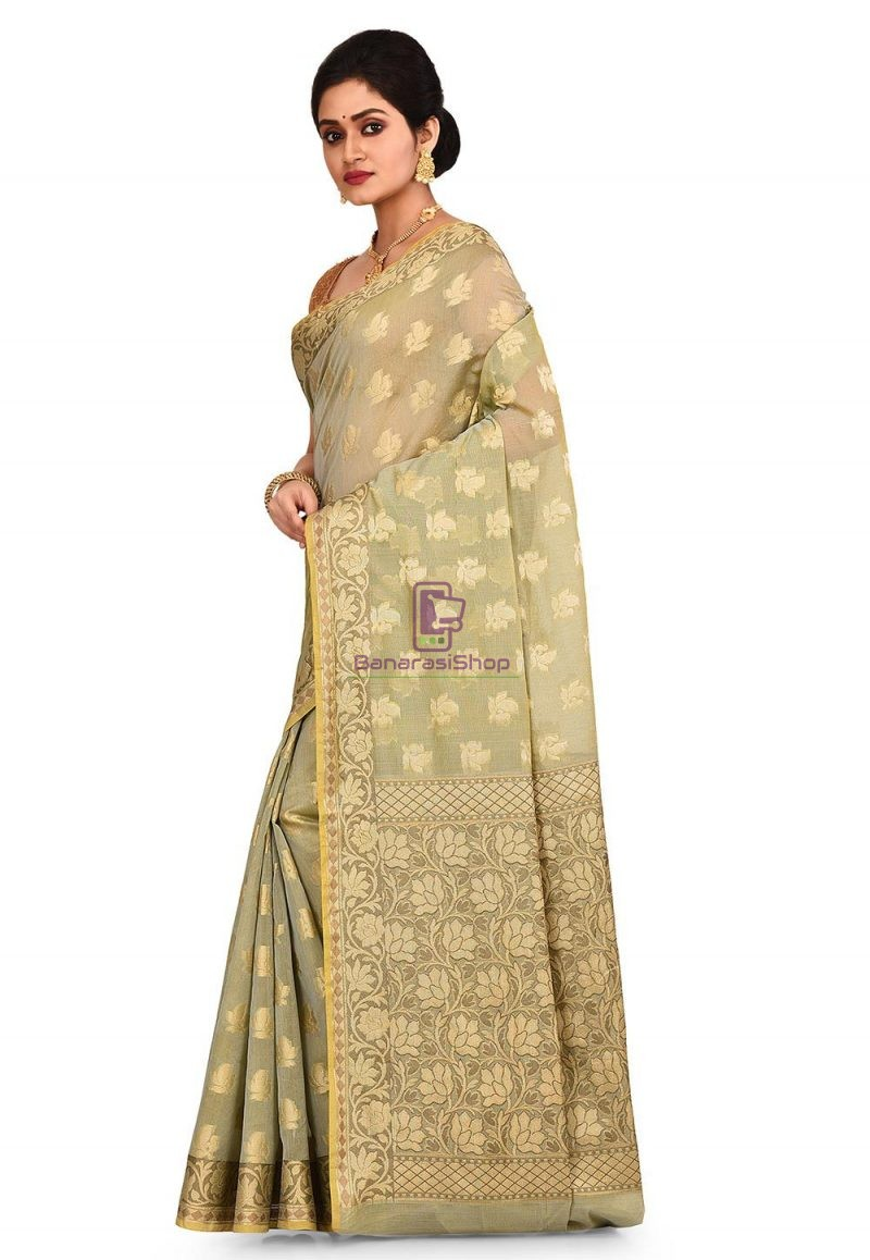 Woven Banarasi Cotton Silk Saree in Grey and Mustard Dual Tone 4