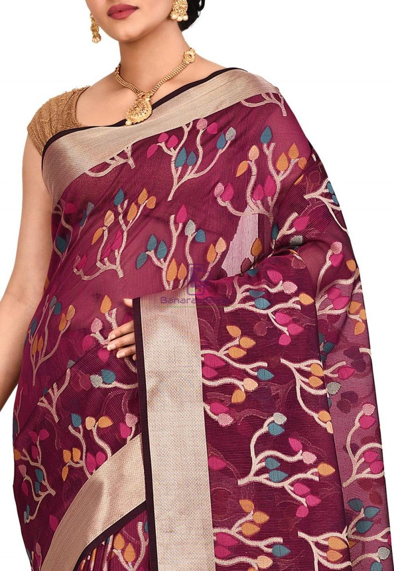 Woven Banarasi Cotton Silk Saree in Magenta 2