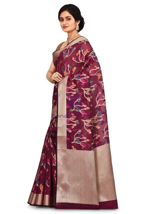 Woven Banarasi Cotton Silk Saree in Magenta 7