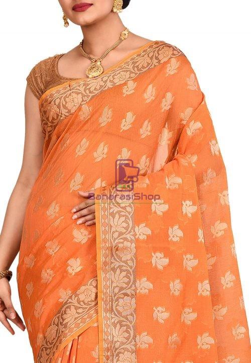 Woven Banarasi Cotton Silk Saree in Orange 5
