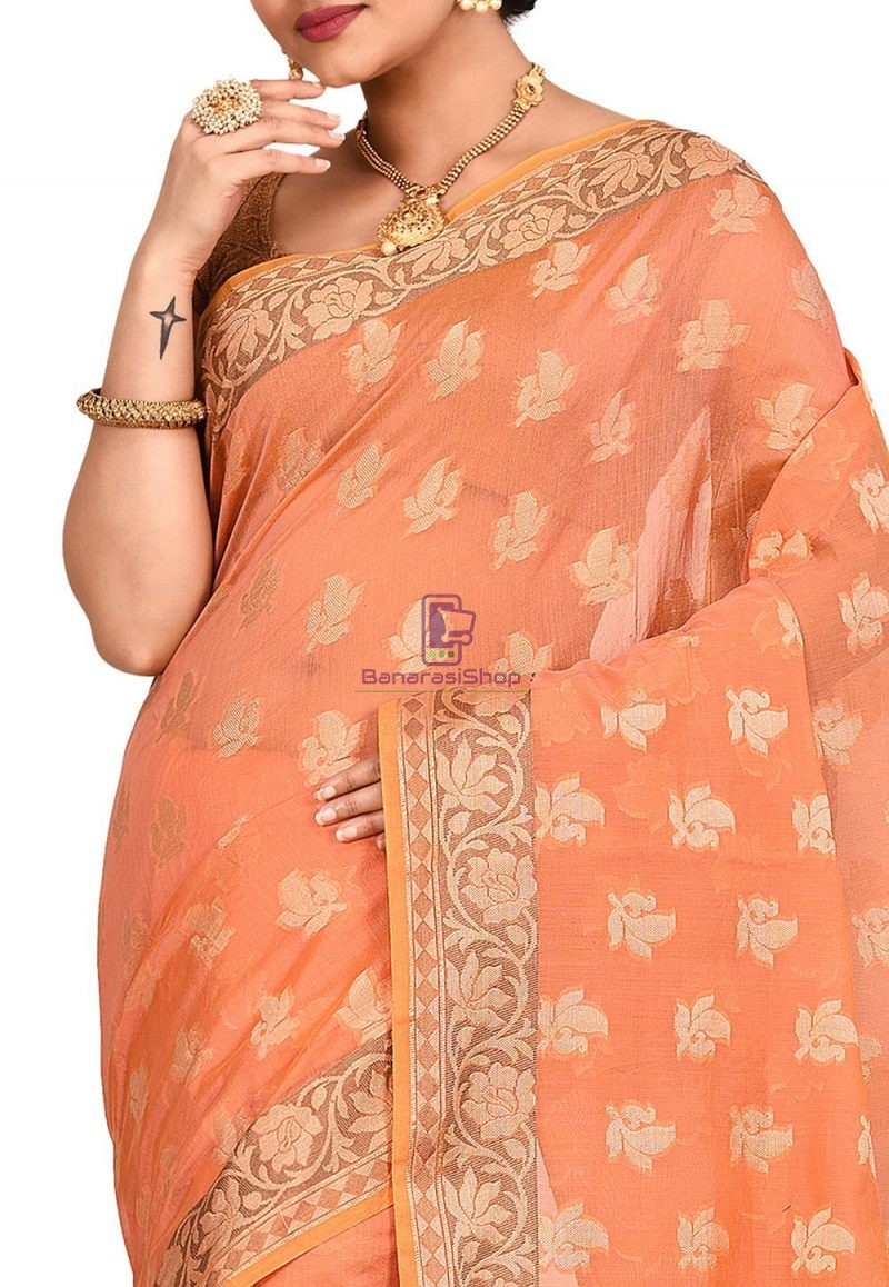 Woven Banarasi Cotton Silk Saree in Peach and Mustard Dual Tone 2