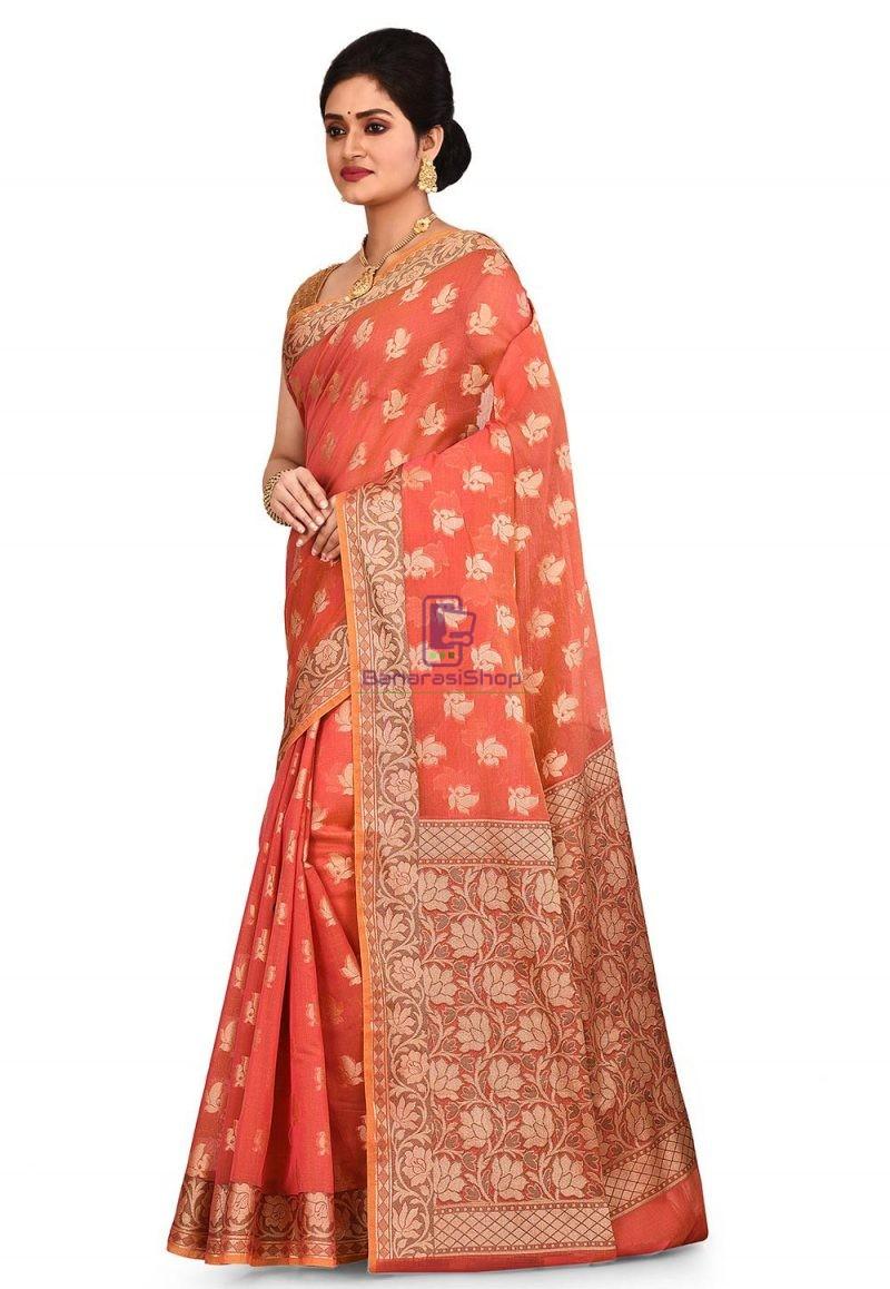 Woven Banarasi Cotton Silk Saree in Rust 4