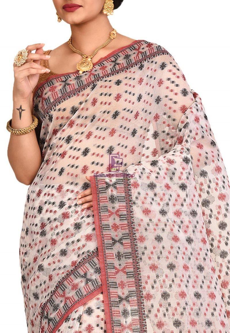 Woven Banarasi Cotton Silk Saree in White 2