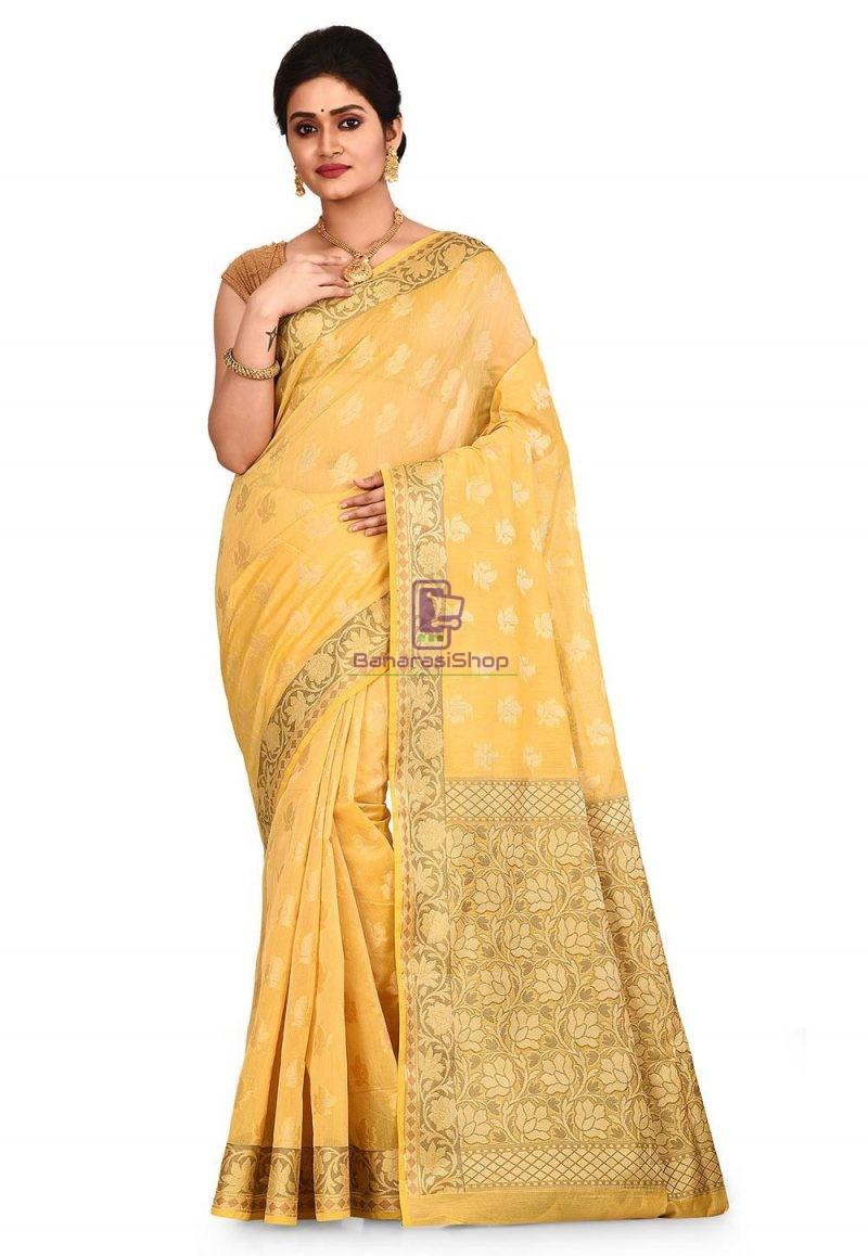 Woven Banarasi Cotton Silk Saree in Yellow 1
