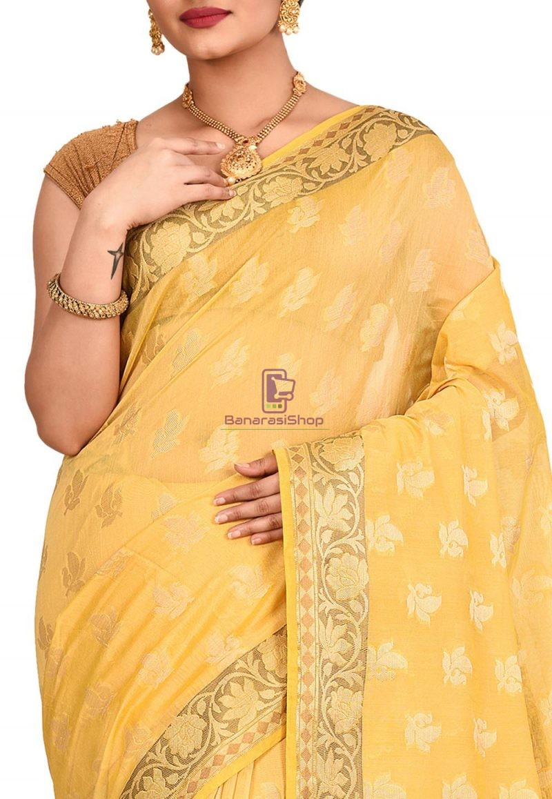 Woven Banarasi Cotton Silk Saree in Yellow 2