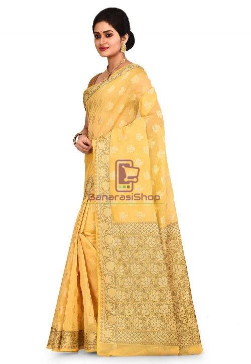 Woven Banarasi Cotton Silk Saree in Yellow 7