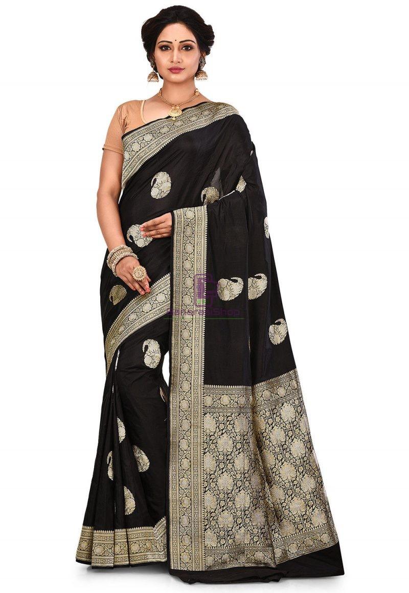 Pure Banarasi Katan Silk Handloom Saree in Black 1