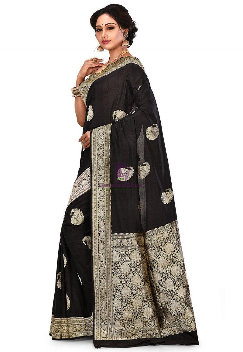 Pure Banarasi Katan Silk Handloom Saree in Black 4