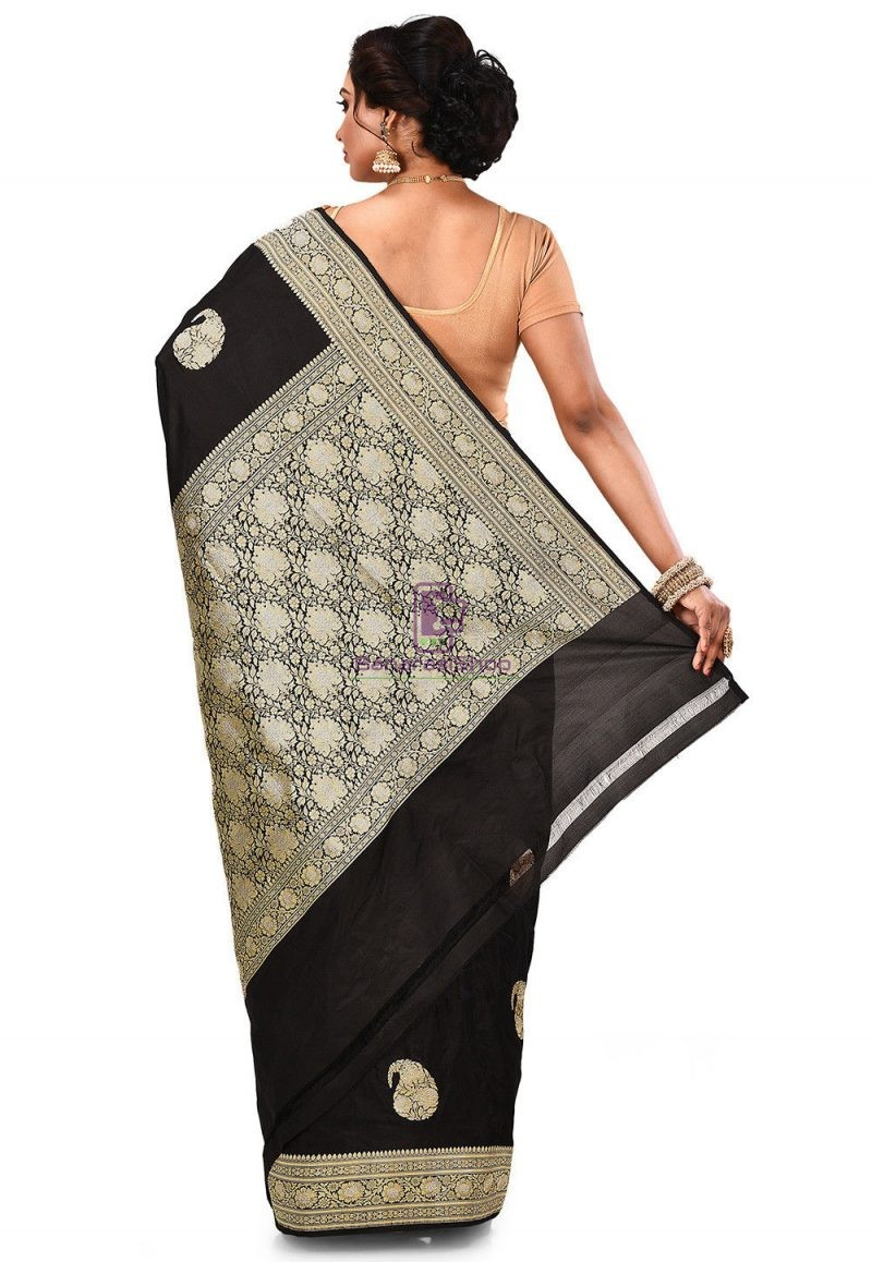 Pure Banarasi Katan Silk Handloom Saree in Black 5