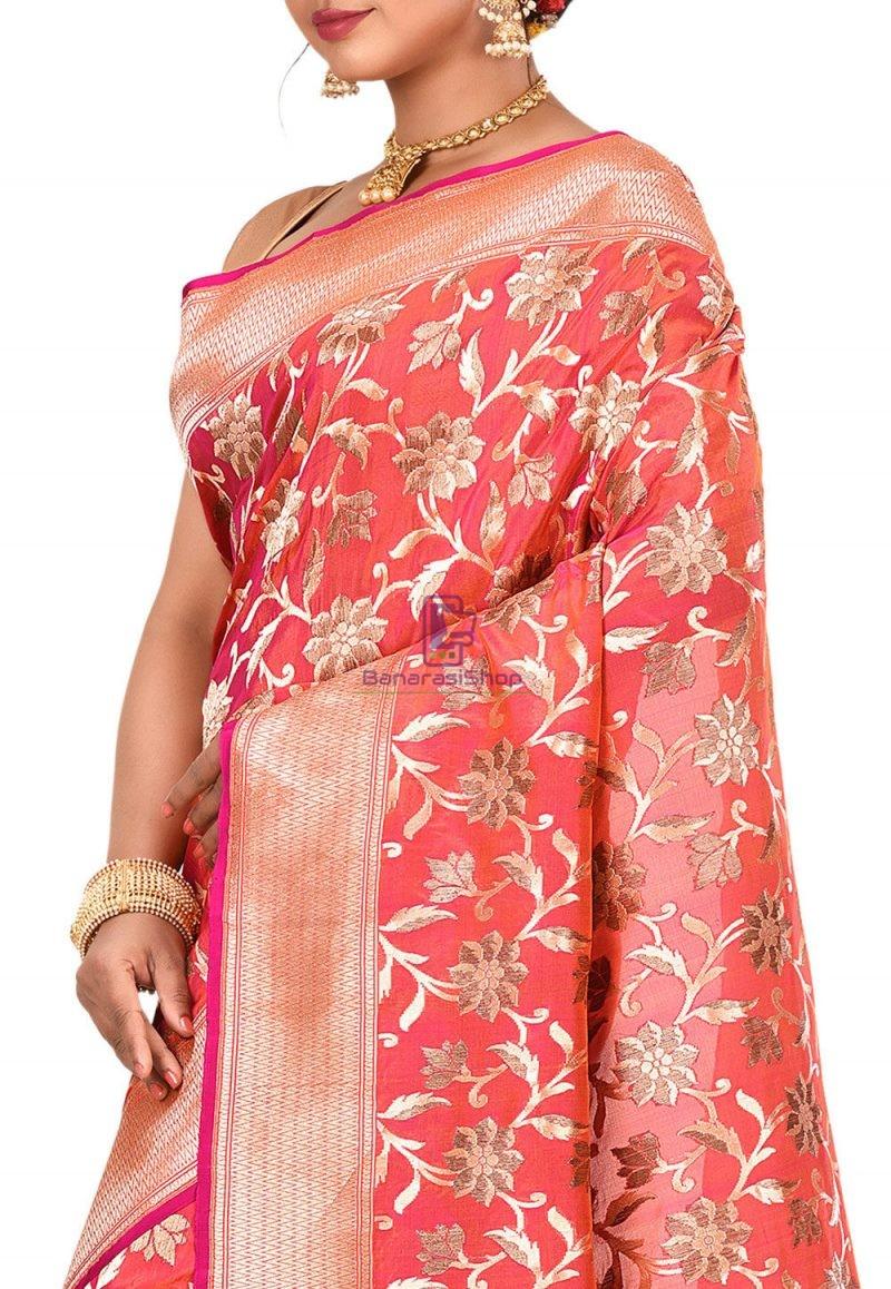 Pure Banarasi Katan Silk Handloom Saree in Fuchsia and Orange Dual Tone 2