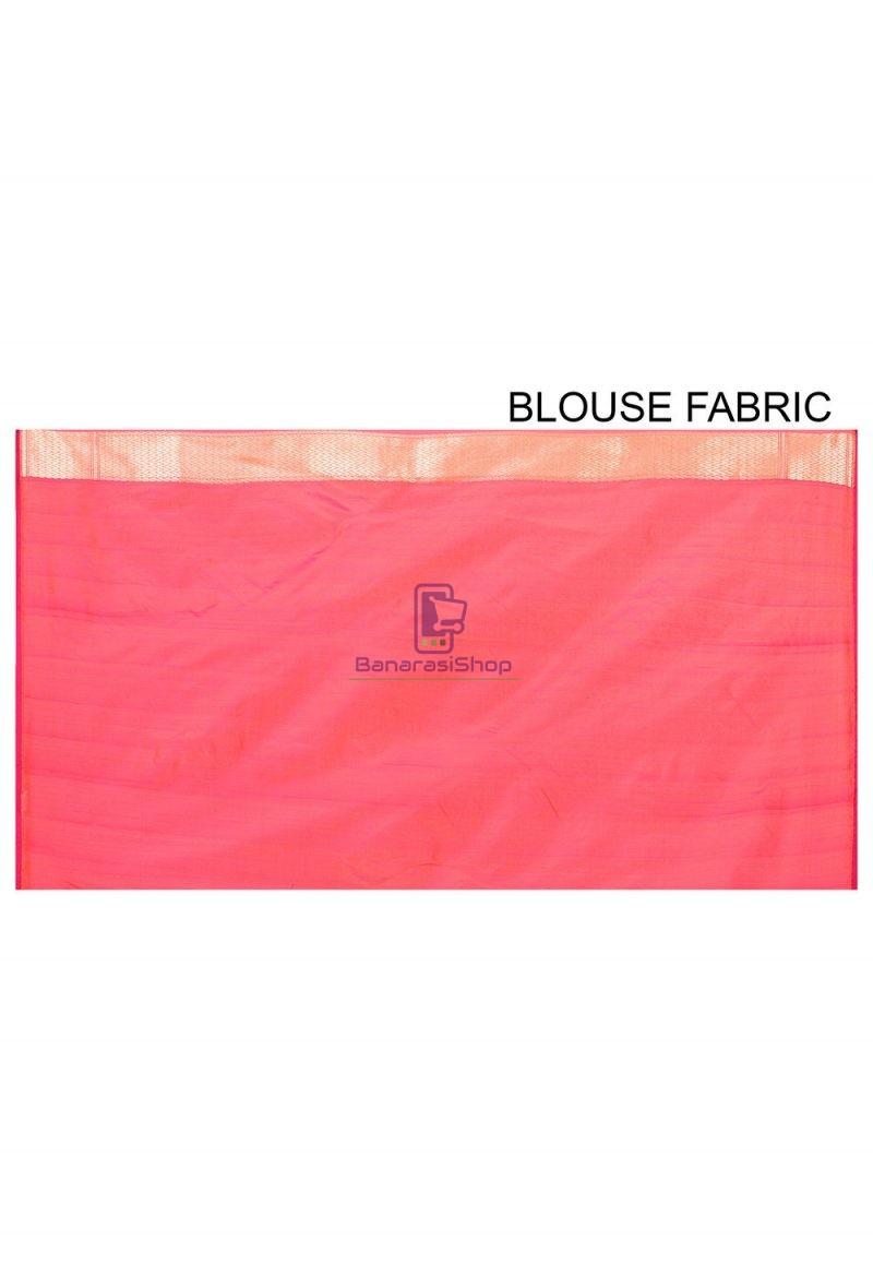 Pure Banarasi Katan Silk Handloom Saree in Fuchsia and Orange Dual Tone 3