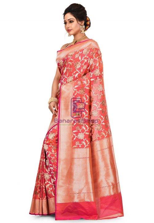 Pure Banarasi Katan Silk Handloom Saree in Fuchsia and Orange Dual Tone 8