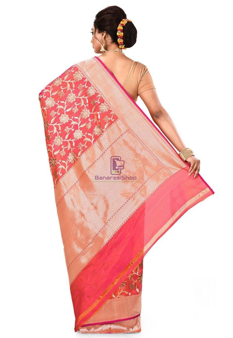 Pure Banarasi Katan Silk Handloom Saree in Fuchsia and Orange Dual Tone 5
