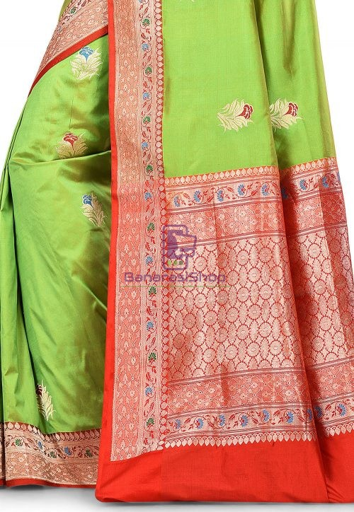 Pure Banarasi Katan Silk Handloom Saree in Light Green 5