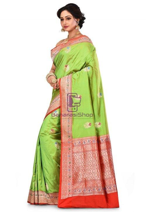 Pure Banarasi Katan Silk Handloom Saree in Light Green 7