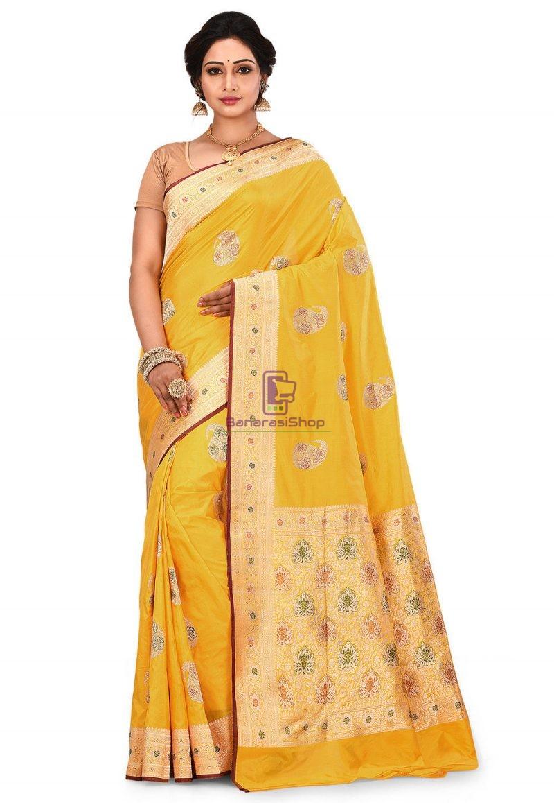 Pure Banarasi Katan Silk Handloom Saree in Yellow 1
