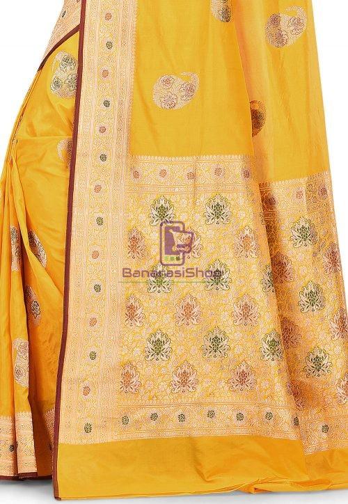 Pure Banarasi Katan Silk Handloom Saree in Yellow 6