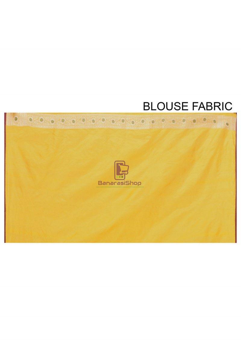 Pure Banarasi Katan Silk Handloom Saree in Yellow 3