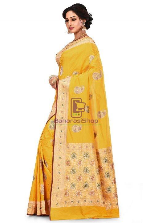 Pure Banarasi Katan Silk Handloom Saree in Yellow 8