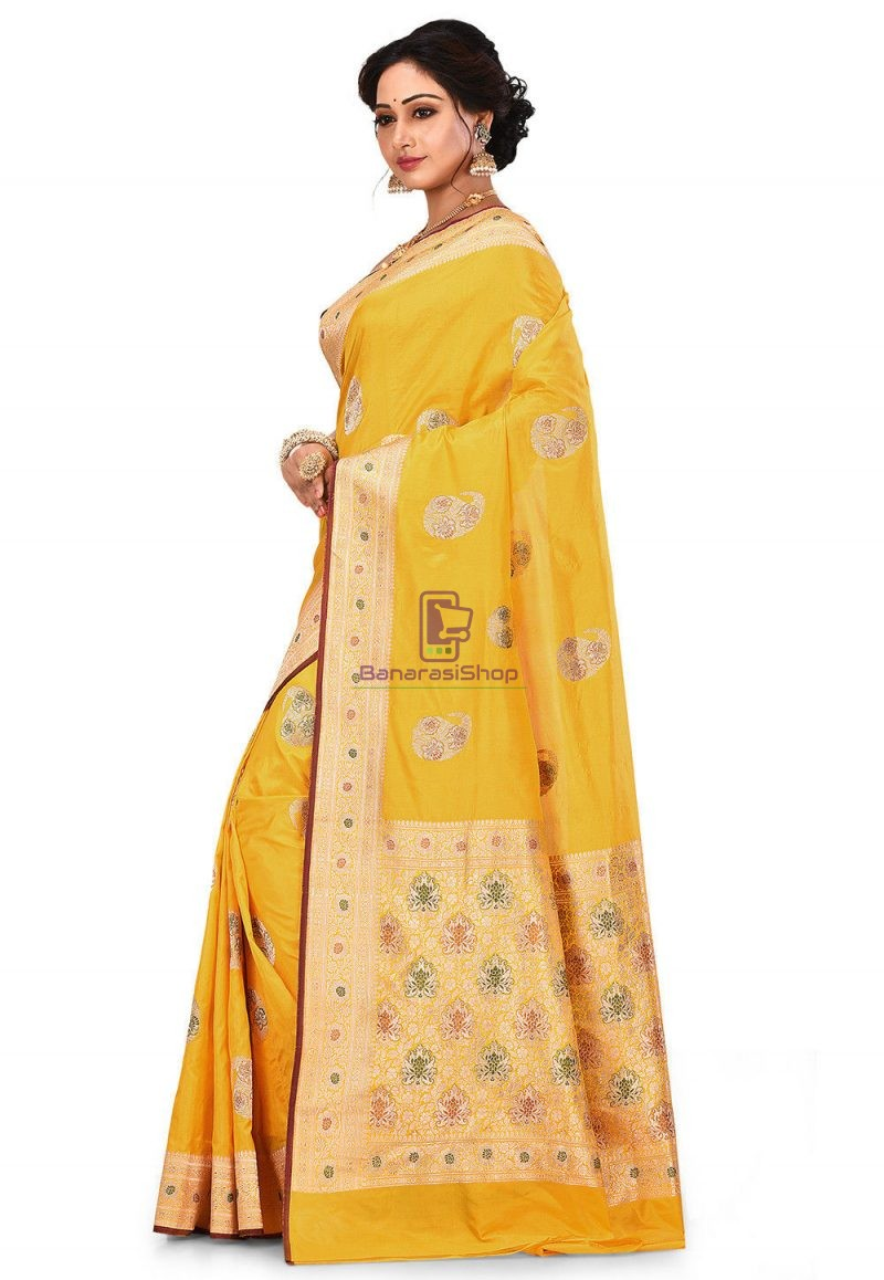 Pure Banarasi Katan Silk Handloom Saree in Yellow 4