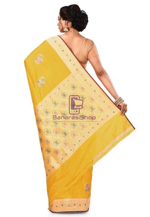 Pure Banarasi Katan Silk Handloom Saree in Yellow 9