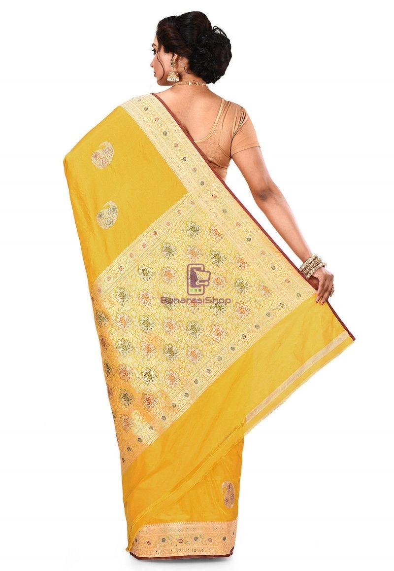 Pure Banarasi Katan Silk Handloom Saree in Yellow 5