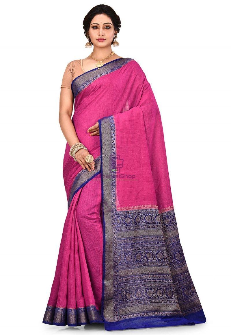 Pure Muga Silk Banarasi Saree in Fuchsia 1