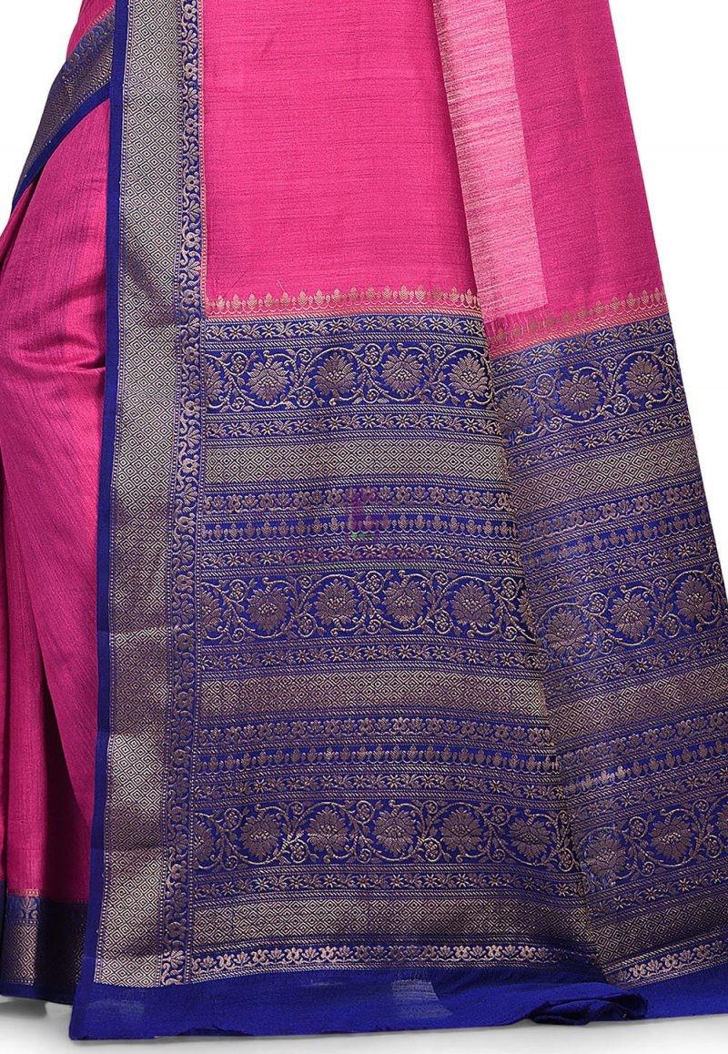 Pure Muga Silk Banarasi Saree in Fuchsia 2