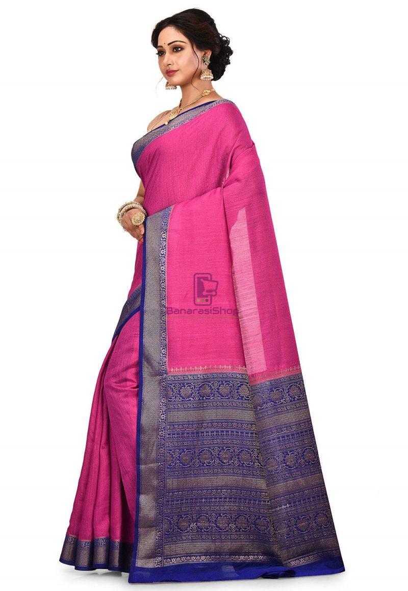 Pure Muga Silk Banarasi Saree in Fuchsia 4
