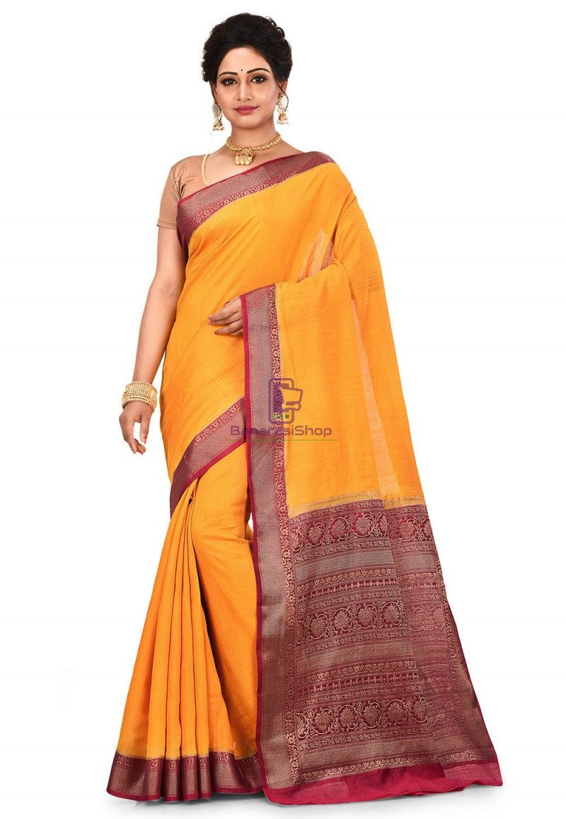 Pure Muga Silk Banarasi Saree in Yellow 1