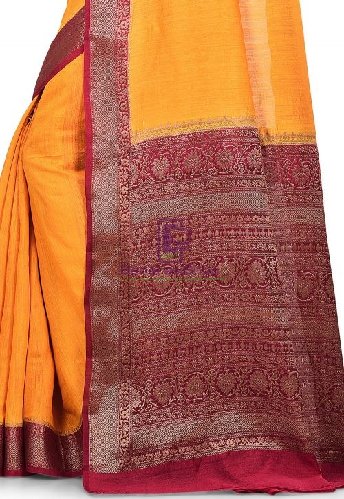 Pure Muga Silk Banarasi Saree in Yellow 6