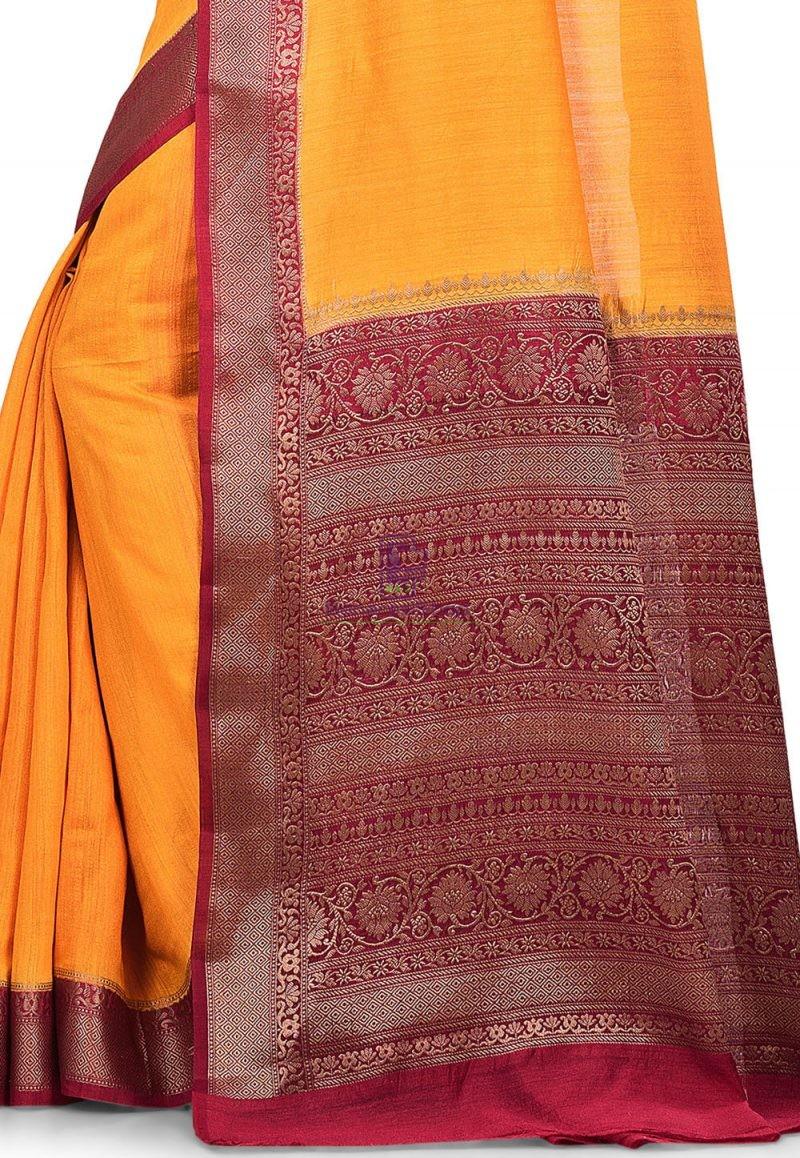 Pure Muga Silk Banarasi Saree in Yellow 2