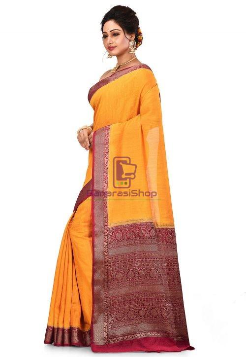 Pure Muga Silk Banarasi Saree in Yellow 8