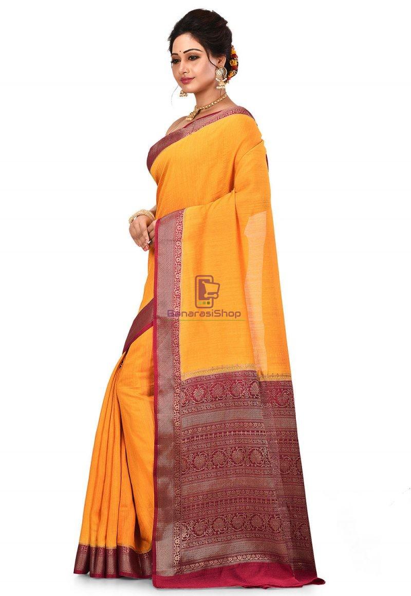 Pure Muga Silk Banarasi Saree in Yellow 4