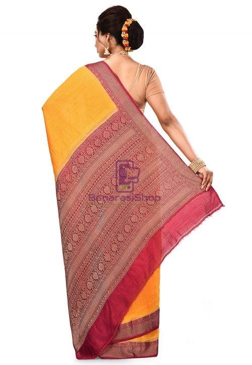 Pure Muga Silk Banarasi Saree in Yellow 9