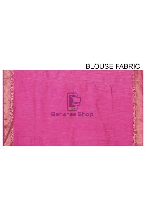 Pure Muga Silk Banarasi Saree in Pink 7