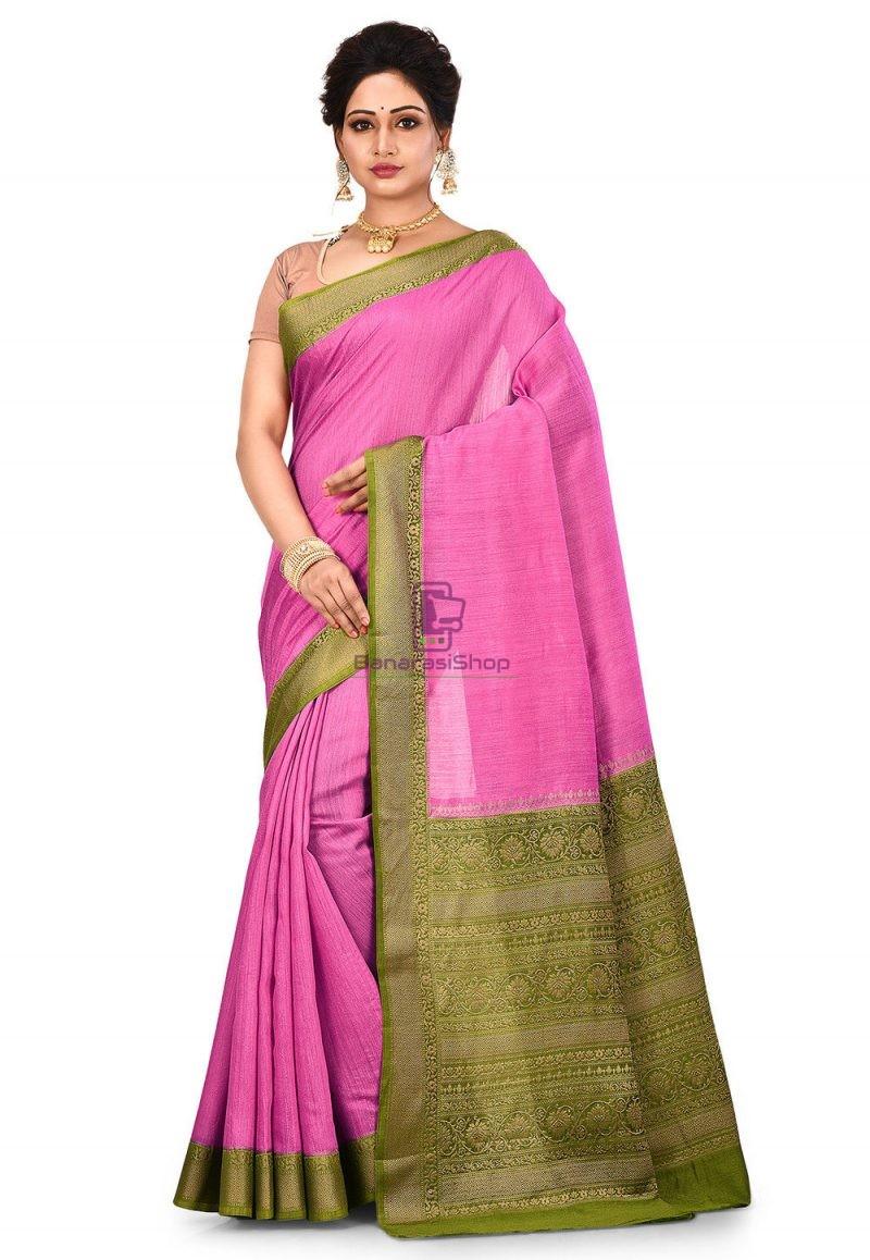 Pure Muga Silk Banarasi Saree in Pink 1