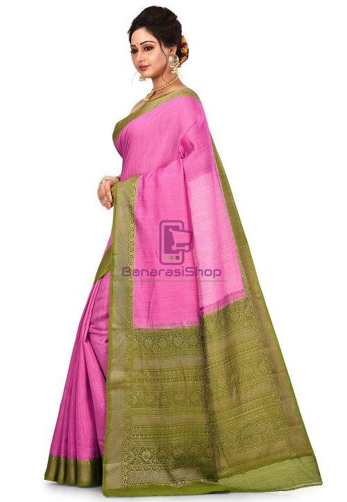 Pure Muga Silk Banarasi Saree in Pink 8