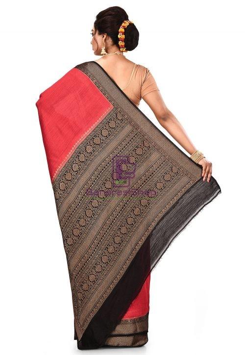 Pure Muga Silk Banarasi Saree in Red 9