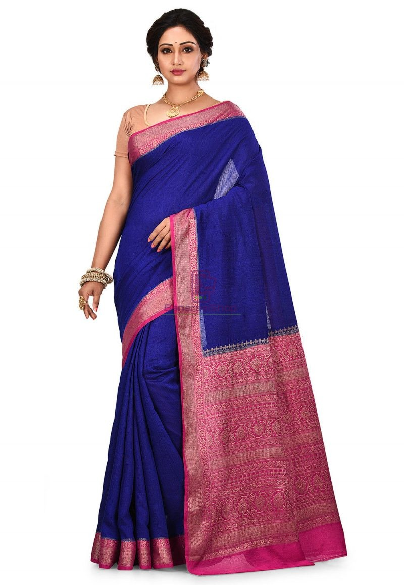 Pure Muga Silk Banarasi Saree in Royal Blue 1