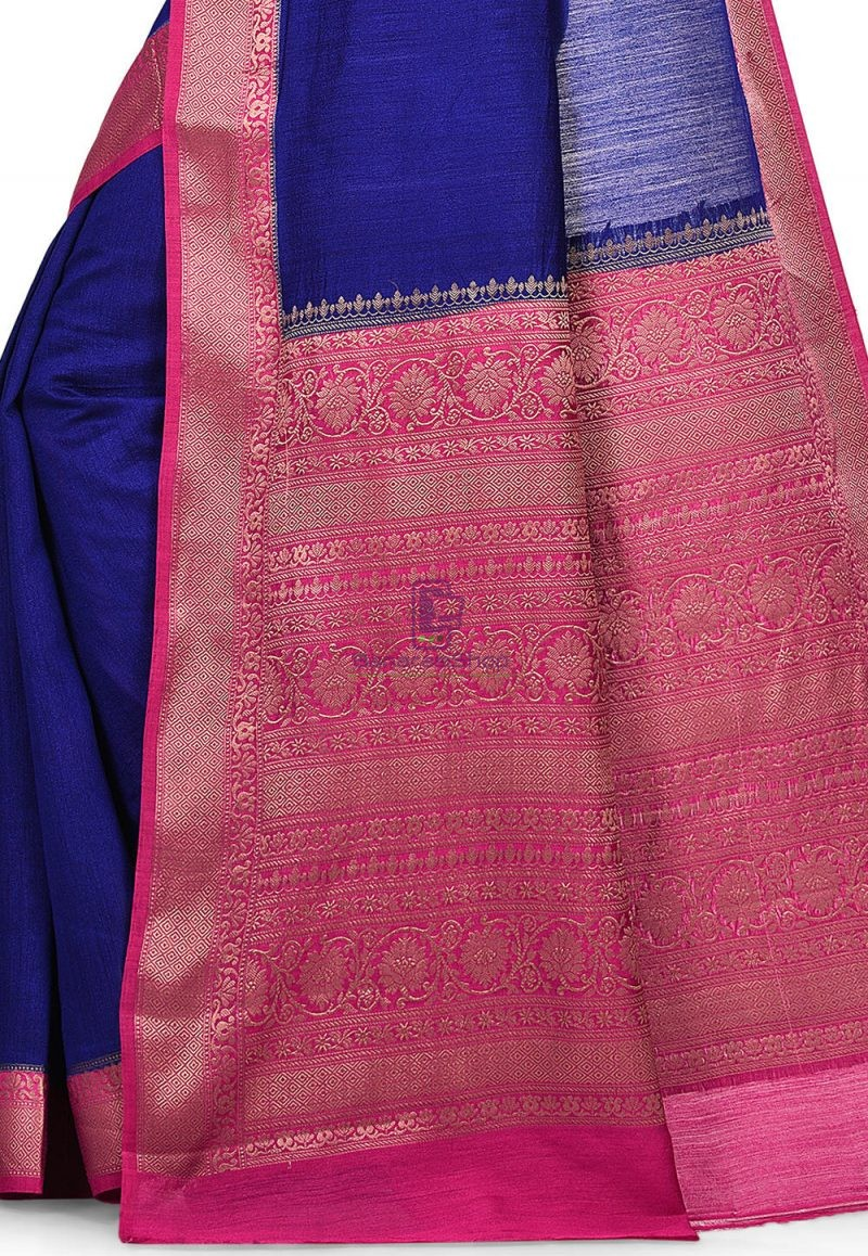 Pure Muga Silk Banarasi Saree in Royal Blue 2