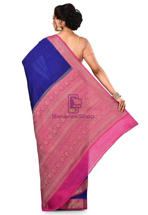 Pure Muga Silk Banarasi Saree in Royal Blue 9