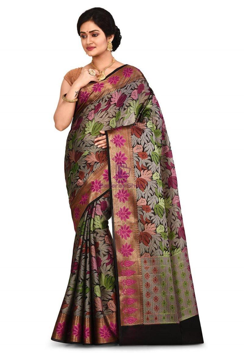 Woven Banarasi Cotton Silk Saree in Black and Grey 1