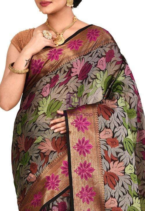 Woven Banarasi Cotton Silk Saree in Black and Grey 5