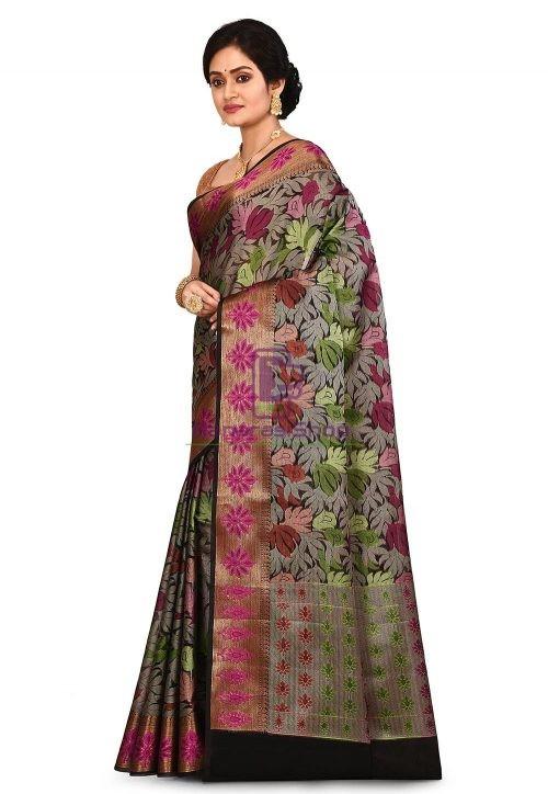 Woven Banarasi Cotton Silk Saree in Black and Grey 7