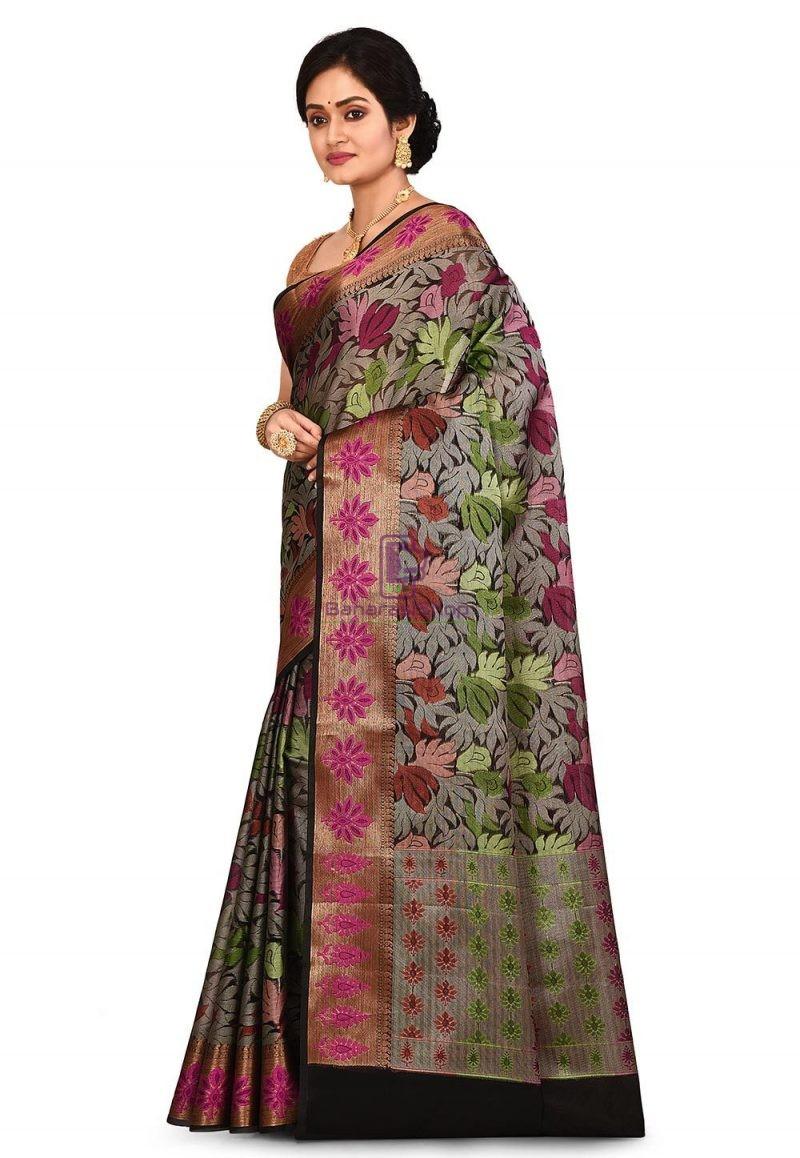 Woven Banarasi Cotton Silk Saree in Black and Grey 4